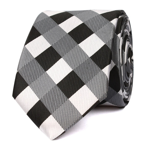 Black White Grey Checkered Skinny Tie