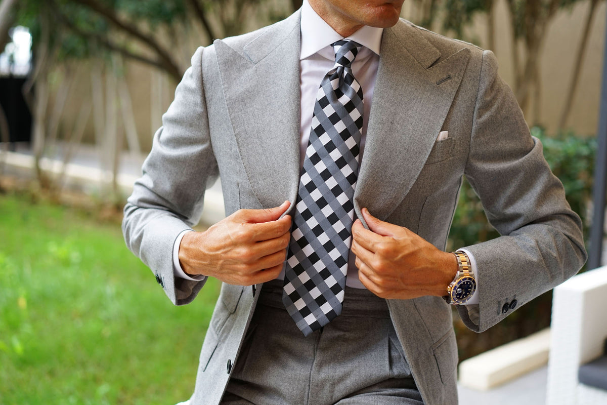 Black White Grey Checkered Tie