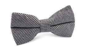 Black & White Houndstooth Cotton Bow Tie