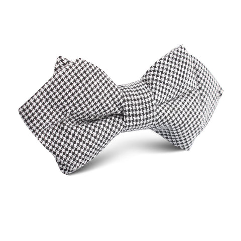 Black & White Houndstooth Cotton Diamond Bow Tie
