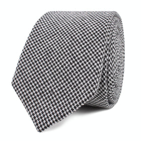 Black & White Houndstooth Cotton Skinny Tie