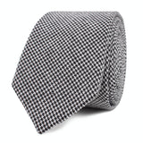 Black & White Houndstooth Cotton Fabric C164 Skinny Tie Front Roll