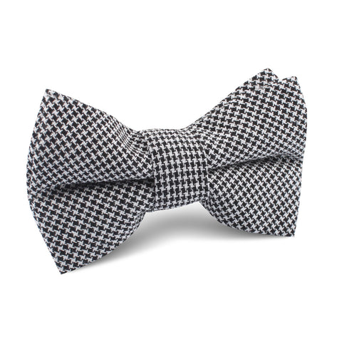 Black & White Houndstooth Cotton Kids Bow Tie