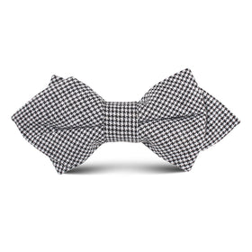 Black & White Houndstooth Cotton Kids Diamond Bow Tie