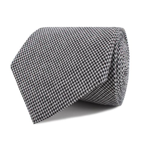 Black & White Houndstooth Cotton Necktie