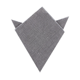 Black & White Houndstooth Cotton Pocket Square