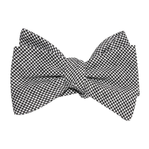 Black & White Houndstooth Cotton Self Tie Bow Tie