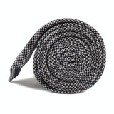 Black & White Houndstooth Cotton Skinny Tie Side Roll