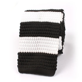 Black & White Thick Stripes Knitted Tie