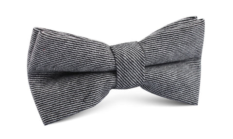 Black & White Twill Stripe Linen Bow Tie