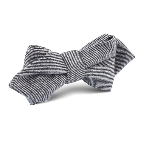 Black & White Twill Stripe Linen Diamond Bow Tie