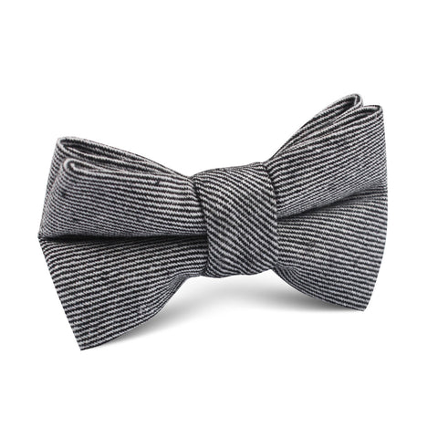Black & White Twill Stripe Linen Kids Bow Tie