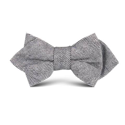 Black & White Twill Stripe Linen Kids Diamond Bow Tie