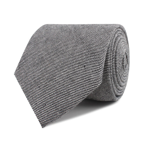 Black & White Twill Stripe Linen Necktie