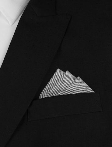 Black & White Twill Stripe Linen Pocket Square