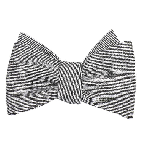 Black & White Twill Stripe Linen Self Tie Bow Tie