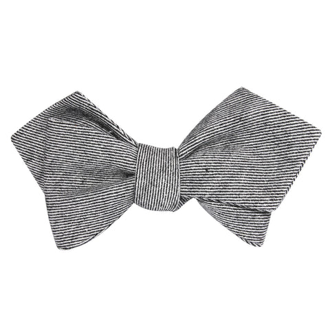 Black & White Twill Stripe Linen Self Tie Diamond Tip Bow Tie