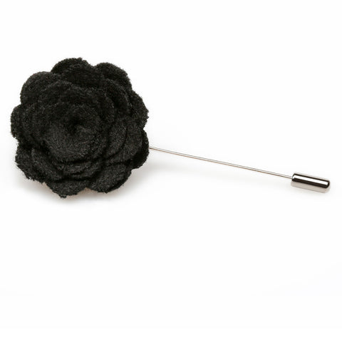 Black Wool Flower Lapel Pin