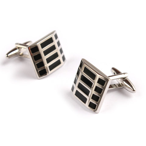 Black and Silver Rectangle Cufflinks