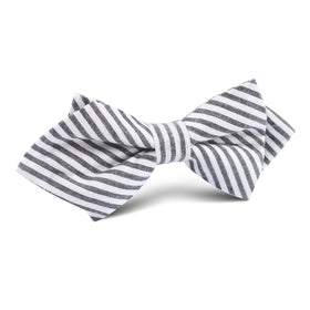 Black and White Chalk Stripe Cotton Diamond Bow Tie