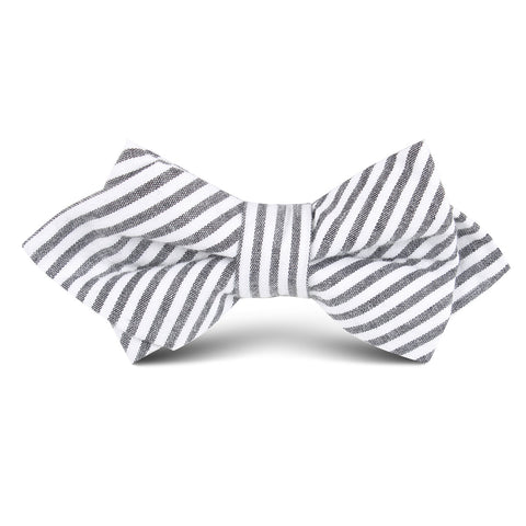 Black and White Chalk Stripe Cotton Kids Diamond Bow Tie