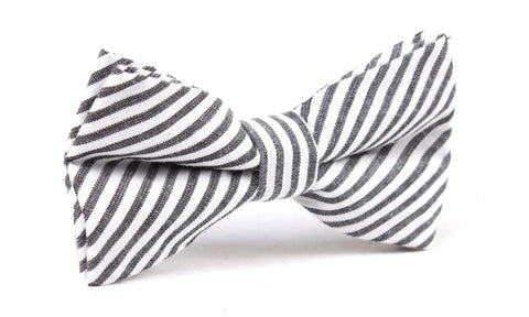 Black and White Chalk Stripes Cotton Bow Tie