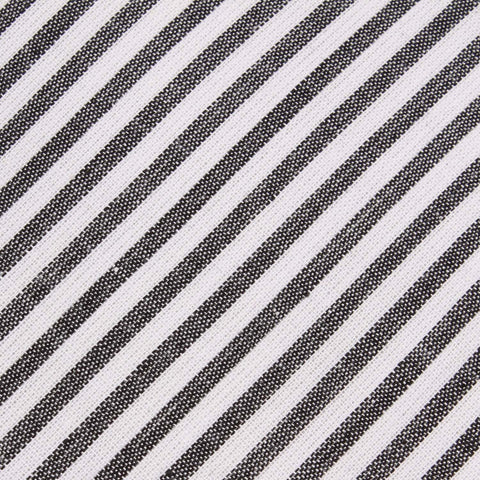 Black and White Chalk Stripes Cotton Pocket Square