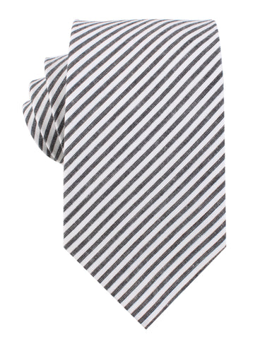 Black and White Chalk Stripes Cotton Necktie