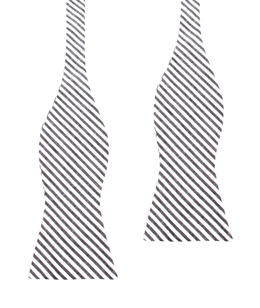 Black and White Chalk Stripes Cotton Self Tie Bow Tie