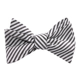 Black and White Chalk Stripes Cotton Self Tie Bow Tie 1