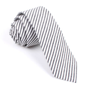 Black and White Chalk Stripes Cotton Skinny Tie