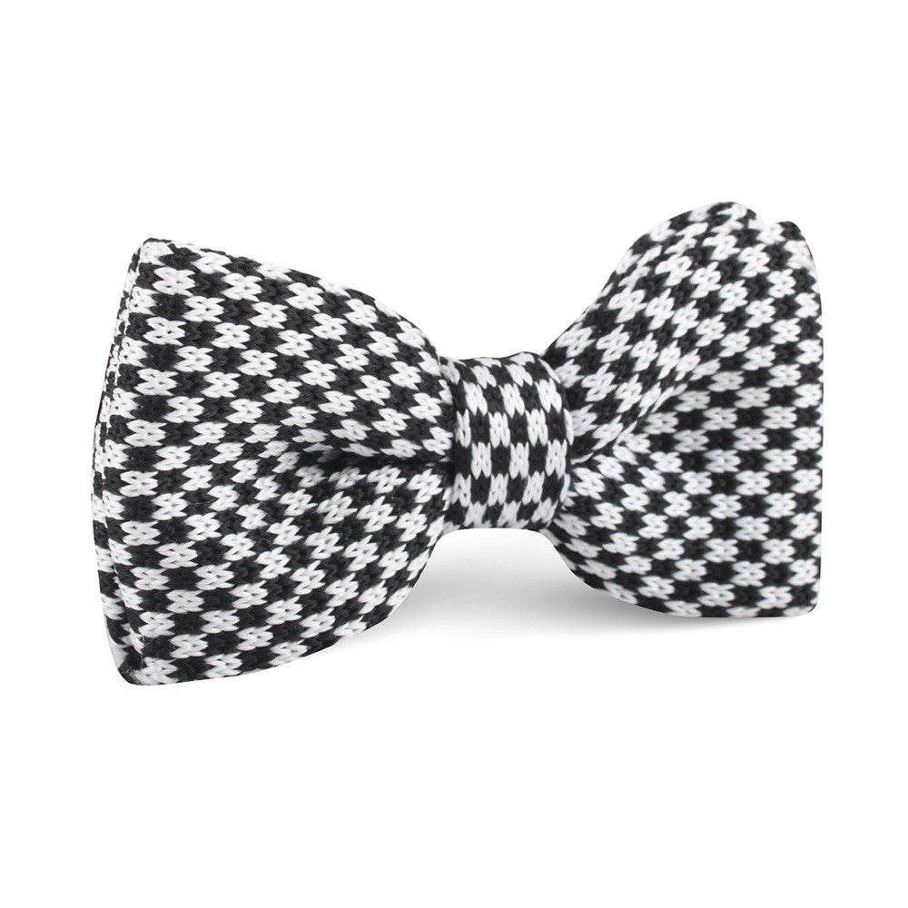 Black and White Checkered Knitted Bow Tie | Knit Bowties Bowtie Ties ...
