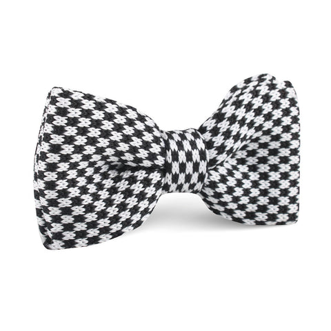 Black and White Checkered Knitted Bow Tie