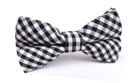 Black and White Gingham Cotton Bow Tie