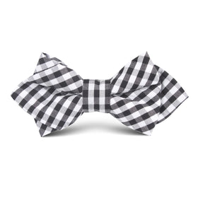 Black and White Gingham Cotton Kids Diamond Bow Tie