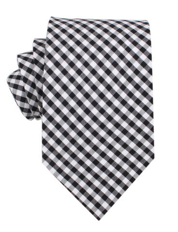 Black and White Gingham Cotton Necktie