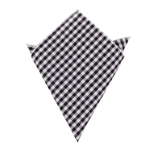 Black and White Gingham Cotton Pocket Square