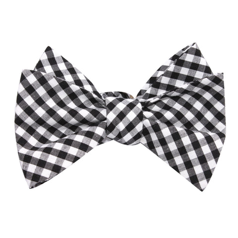 Black and White Gingham Cotton Self Tie Bow Tie