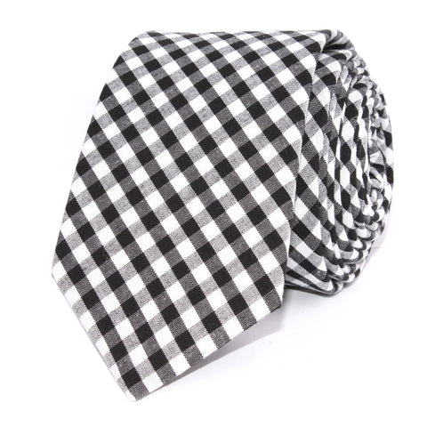 Black and White Gingham Cotton Skinny Tie