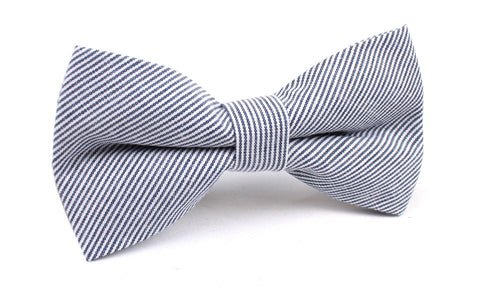 Black and White Pinstripe Cotton Bow Tie