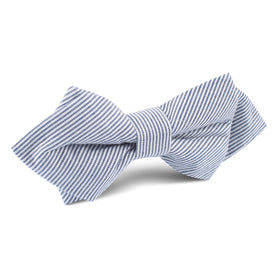 Black and White Pinstripe Cotton Diamond Bow Tie