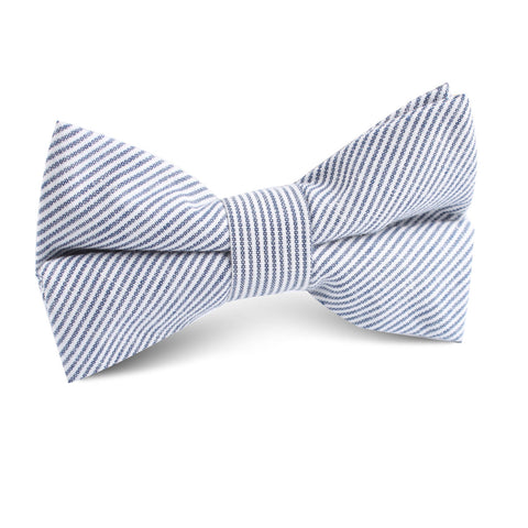 Black and White Pinstripe Cotton Kids Bow Tie