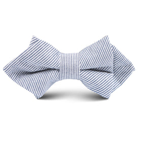 Black and White Pinstripe Cotton Kids Diamond Bow Tie
