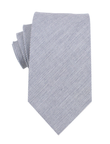 Black and White Pinstripe Cotton Necktie