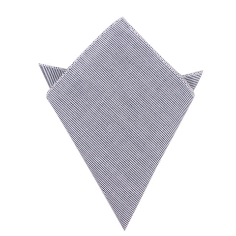 Black and White Pinstripe Cotton Pocket Square