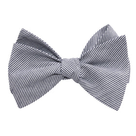 Black and White Pinstripe Cotton Self Tie Bow Tie