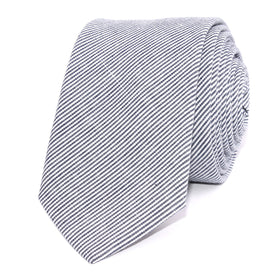 French Pinstripe Cotton Skinny Tie