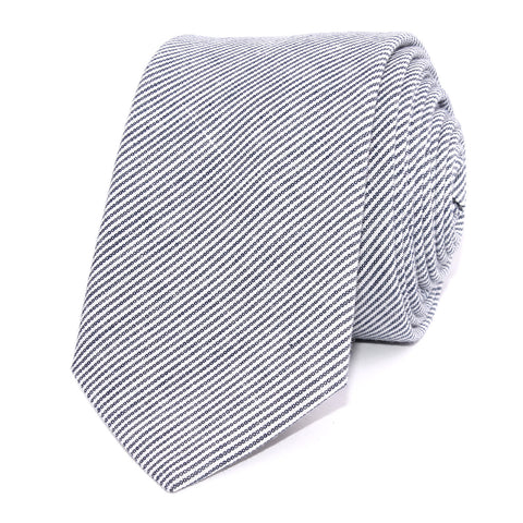 Black and White Pinstripe Cotton Skinny Tie