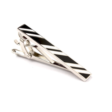 Black and White Stripe Tie Bar