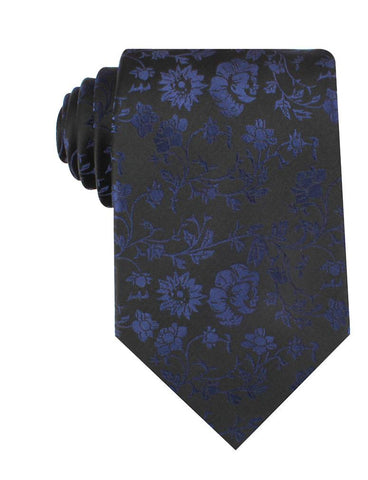 Black on Navy Blue Vine Floral Necktie